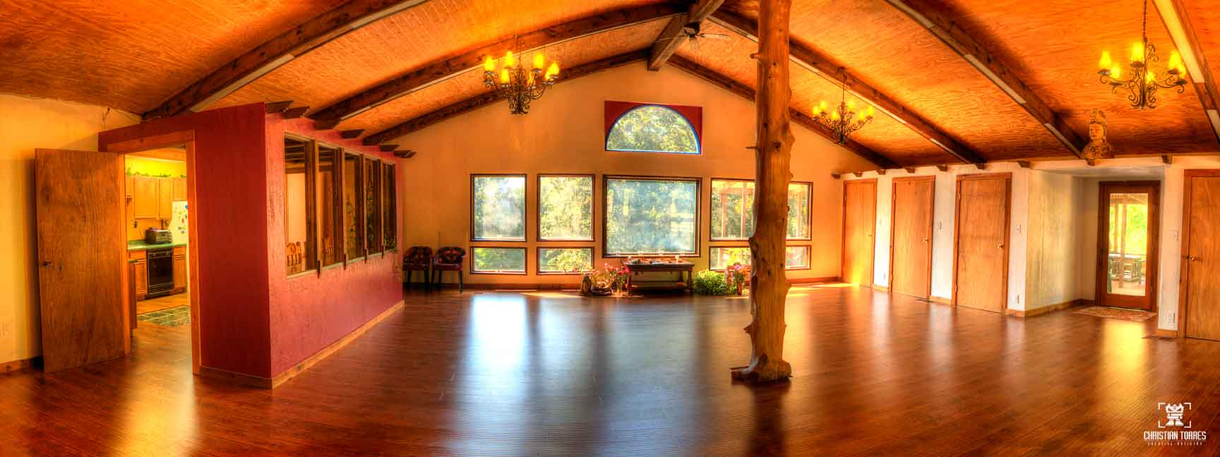 The Great Room at the Samadhi Retreat provides room for yoga, indoor camping on air mattresses, & discourse area during Samadhi Silent Retreats